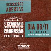 Inscrições abertas para o 3º Seminário Espírito Santense de Corrosão
